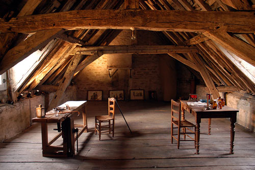 One of the attic rooms where Niépce also did some of his shooting and chemical work. Photo by Francis Demange/Gamma, courtesy of Pierre-Yves Mahé/Spéos.