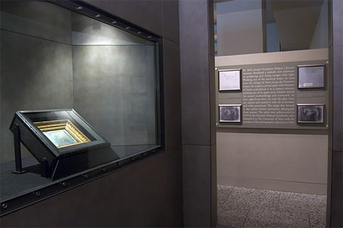 The Niépce plate is safely housed in a custom-made display case. Courtesy of the Harry Ransom Center.