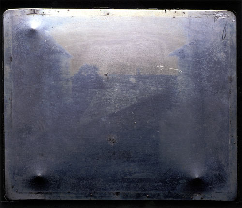 """Joseph Nicéphore Niépce's """"View from the Window at Le Gras."""" c. 1826. Photo by J. Paul Getty Museum."""