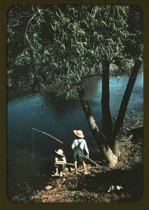 Boys fishing in a bayou, Schriever, La., 1940.  Marion Post Wolcott