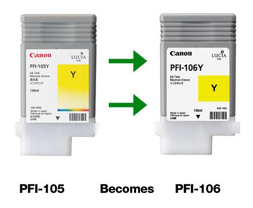 Canon PFI-105 changed to PFI-106